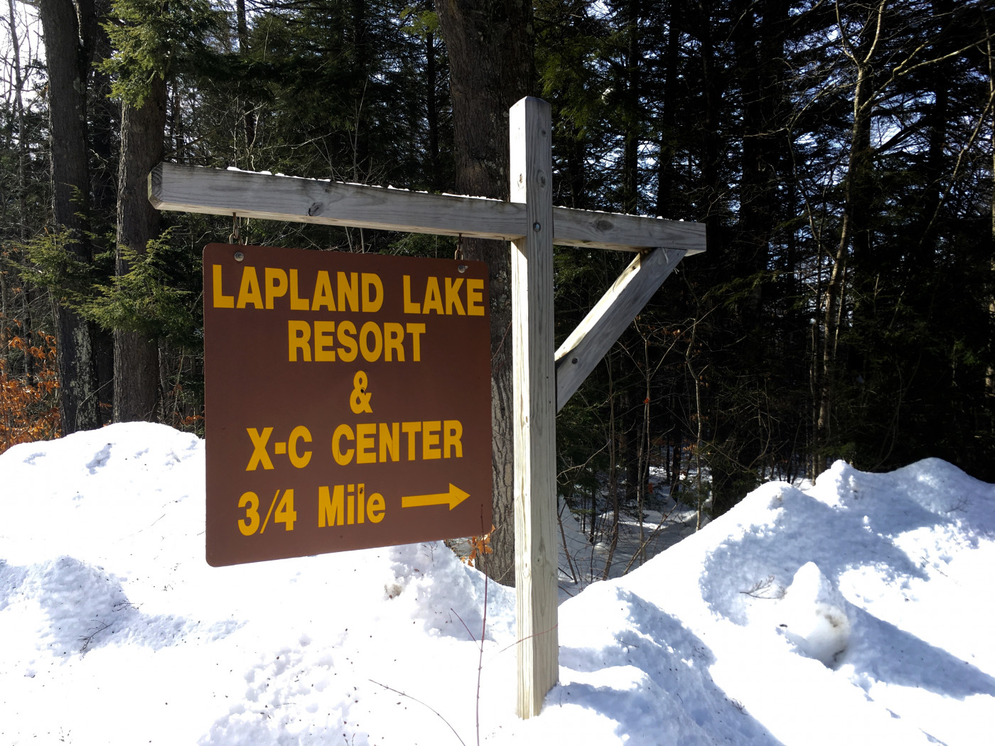 Sign for Lapland Lake Resort & X-C Center