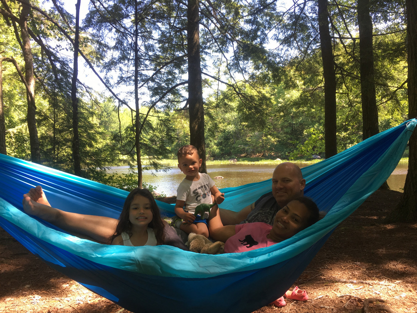 Relaxing in a hammock at Lewey Lake Campground